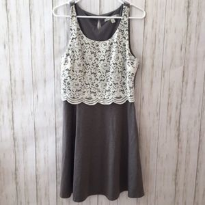 Gray Lace dress with keyhole in the back
